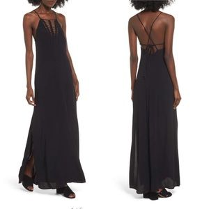 Astr The Label Hermosa Halter Crochet Maxi Dress